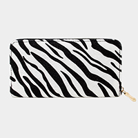 Zebra Print Faux Fur Zipper Wallet