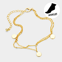 Brass Layered Chain Triple Metal Disc Charm Anklet