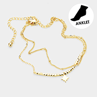 Brass Layered Chain Metal North Star Charm Anklet