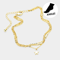 Brass Layered Chain Metal Star Charm Anklet