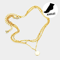 Brass Layered Chain Metal Disc Charm Anklet
