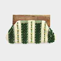Two Sided Wood Handle Clutch Bag