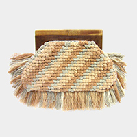 Tassel Fringe Wood Handle Clutch Bag