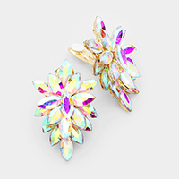 Oval Crystal Cluster Flower Clip on Evening Earrings