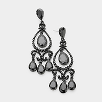 Crystal Teardrop Detail Chandelier Evening Earrings