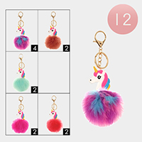 12PCS - Unicorn Faux Pom Pom Key Chains