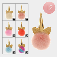 12PCS - Unicorn Horn Faux Pom Pom Key Chains