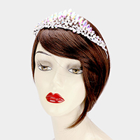 Oval Crystal Detail Leaf Pageant Queen Tiara