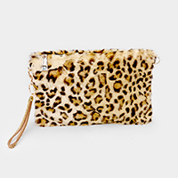 Leopard Faux Fur Clutch Crossbody Bag