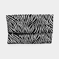 Zebra Foldover Clutch Bag