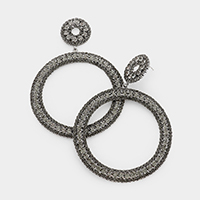 Bubble Crystal Pave Open Circle Evening Earrings
