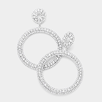 Bubble Crystal Pave Cut Out Round Evening Earrings