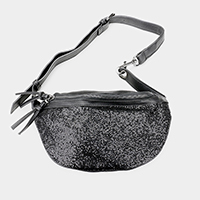 Crystal Glittered Leather Fanny Bag