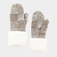 Multi Tone Tile Mitten Gloves