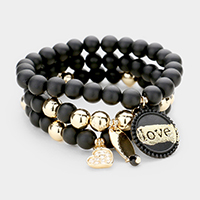 3PCS - Beaded Love Heart Charm Stretch Bracelets