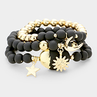 3PCS - Beaded Sun Star Moon Charm Stretch Bracelets