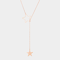 Gold Dipped Metal Star Pendant Toggle Necklace