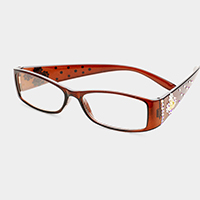 Pearl Crystal Embellished Rectangle Reading Glasses