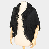 Lace Collar Detail Open Poncho