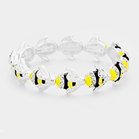 Crystal Enamel Honey Bee Stretch Bracelet