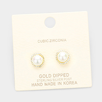 Gold Dipped Cubic Zirconia Trim Pearl Stud Earrings