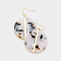 Lined Metal Celluloid Acetate Disc Dangle Earrings