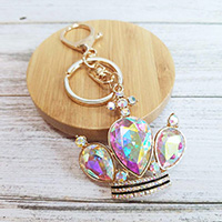 Triple Crystal Teardrop Detail Crown Key Chain