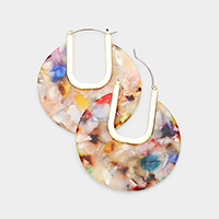 Cut Out Celluloid Acetate Disc Pin Catch Earrings