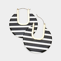 Cut Out Stripe Celluloid Acetate Disc Pin Catch Earrings