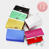 12PCS - Glittered Coin Clasp Purses