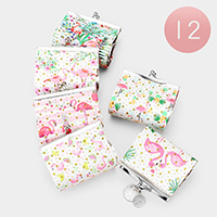 12PCS - Flamingo Print Coin Clasp Purses