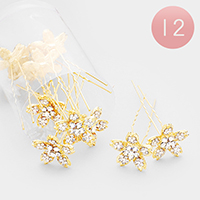 12PCS - Crystal Flower Mini Hair Comb Pins