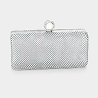 Pearl Shimmery Crystal Pave Evening Clutch Bag