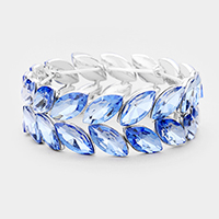 2Rows Oval Crystal Stretch Evening Bracelet