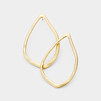 Abstract Metal Teardrop Hoop Earrings