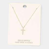 Gold Dipped Cubic Zirconia Cross Pendant Necklace