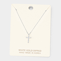 White Gold Dipped Cubic Zirconia Cross Pendant Necklace