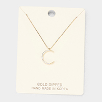 Gold Dipped Cubic Zirconia Crescent Moon Pendant Necklace