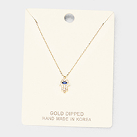 Gold Dipped Cubic Zirconia Hamsa Hand Pendant Necklace
