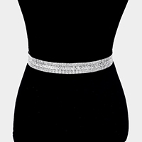 Crystal Pave Sash Ribbon Bridal Wedding Belt