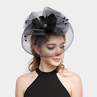 Mesh Floral Feather Fascinator / Headband
