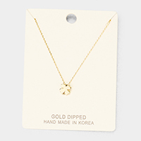 Gold Dipped Metal Clover Pendant Necklace