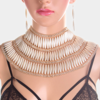 Oval Pearl Accented Bib Collar Necklace