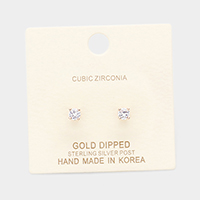 Gold Dipped 4mm Cubic Zirconia Round Stud Earrings