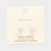 Gold Dipped 5mm Cubic Zirconia Square Stud Earring