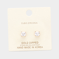 Gold Dipped 5mm Cubic Zirconia Square Stud Earrings