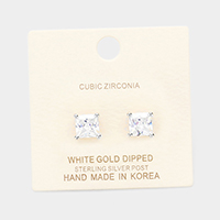 White Gold Dipped 7mm Cubic Zirconia Square Stud Earrings