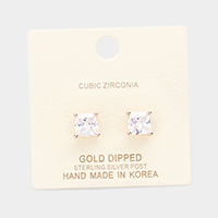 Gold Dipped 7mm Cubic Zirconia Square Stud Earrings