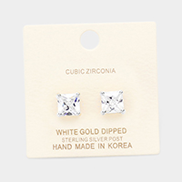 White Gold Dipped 8mm Cubic Zirconia Square Stud Earrings