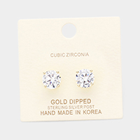 Gold Dipped 9mm Cubic Zirconia Round Stud Earrings